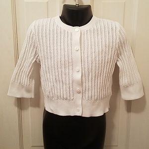 Kids Brooks Bothers 3/4 Sleeve Knit Cardigan White